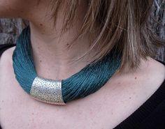 Necklace moss green linen silk thread engraved metal silver color fantasy Handmade 100%. Mediterranean style
