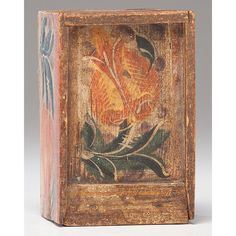 Paint Decorated Slide Lid Box by Cowan's Auctions Inc - 1165053 Pennsylvania, Tulip Painting, Antique Boxes, Painted Boxes, Murals, Painted Furniture, Folk Art, Infinity, 19th Century