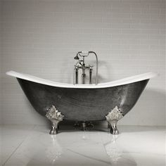 """The Sibton68 68"""" Vintage Designer Burnished Clawfoot Cast Iron Double Slipper Tub Package from Penhaglion"""