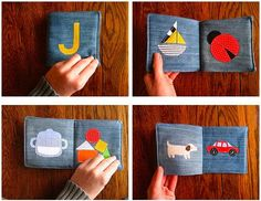 baby book made from fabric and denim scraps.what a clever idea! Diy Projects For Kids, Diy For Kids, Craft Projects, Sewing Projects, Sensory Book, Baby Sensory, Denim Scraps, Fabric Scraps, Baby Quiet Book
