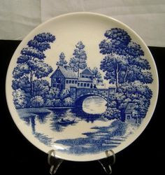 """Vintage Nasco hand Painted 9"""" Plate Lakeview Blue Willow style #Nasco"""