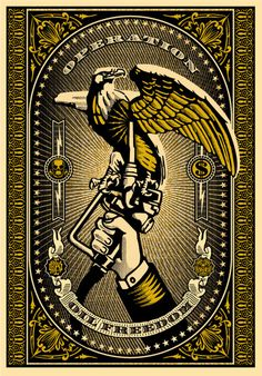 One of three of my favorite pieces by legendary street artist, Shepard Fairey. I have them, but they're still not framed and await a minor redecoration of the living room.