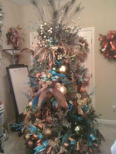 Blue and Copper Peacock Christmas Tree Trendy Tree Blog