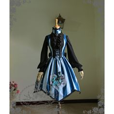 Special Limit The Queen's Throne Alice Lolita Steampunk Large... ❤ liked on Polyvore featuring tops, blue top, embroidered top, embroidery top and steampunk tops