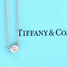"100% Authentic Tiffany&Co DBTY Diamond Pendant 100 % authentic Tiffany&Co Elsa Peretti diamonds by the yard diamond pendant. Platinum. 16"" long chain. Round diamond F color VS1 clarity. Worn once. Comes with box and new black velvet pouch. Receipt also available upon requestNO TRADES Tiffany & Co. Jewelry Necklaces"