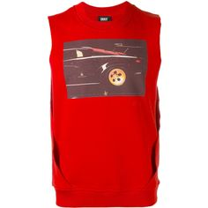 Dust sleeveless car print T-shirt ($69) ❤ liked on Polyvore featuring tops, t-shirts, red, sleeveless tee, sleeveless t shirt, red tee, rib top and cotton tees