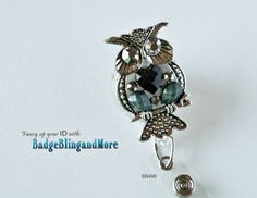 Vintage Owl with grey and black by BadgeBlingandMore on Etsy, $12.00