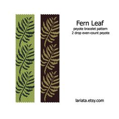 Fern Leaf 2Drop Peyote Bracelet Pattern INSTANT DOWNLOAD