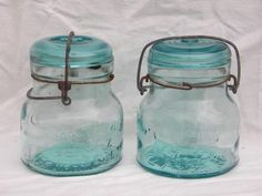 lot rare early antique Atlas fruit jars wrinkled blue glass w/ bubbles