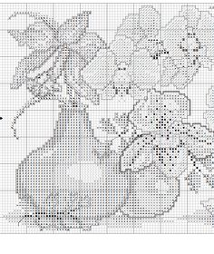 Borduurpatroon Bloemen - Planten *Cross Stitch Flowers - Plants  ~Orchidee in vaasjes 2/5~