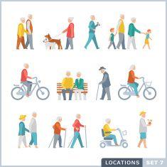 Older People on the street. Neighbors. vector art illustration