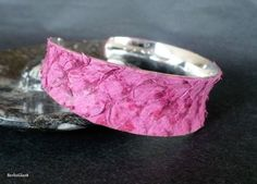 Fish leather cuff pink tilapia leather silver plated by BerlinGlam