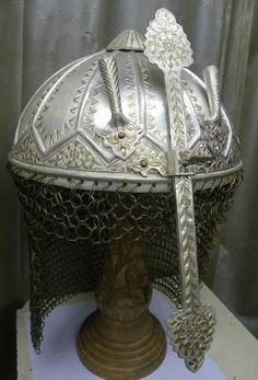 INCREDIBLE SIKH INDIAN WARRIOR  HELMET SILVER PLATED DOCUMENTED WAR CATALOGED
