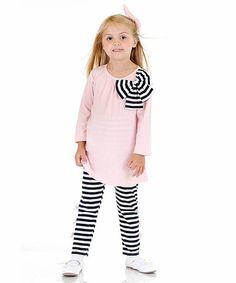 Loving this Pink Bow Tunic & Navy Stripe Leggings - Toddler & Girls on #zulily! #zulilyfinds