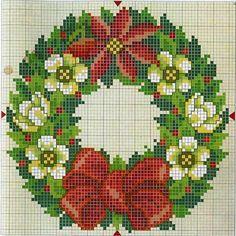 Cross Stitch *♥*  Božićni vezeni venčić