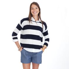 Striped cashmere sweater - maybe navy/white, maybe pale pink/white
