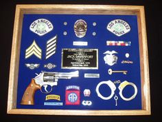 Shirt Shadow Boxes | Welcome to The Don Tenney Company Shadow Box Memory, Memory Frame, Diy Shadow Box, Cop Wife, Police Wife Life, Police Crafts, Airborne Ranger, Police Party, Blue Bloods