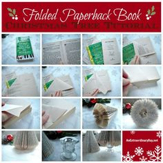 Learn how to make folded paperback book Christmas trees for home decor or gifts from AnExtraordinaryDay.net