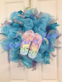 Blue Deco Mesh with FlipFlops say Summer by WreathsByChris on Etsy, $54.00