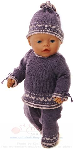 Baby Knitting Patterns Girl knit baby born - I thought a tunic would be really nice for this E . Knitting Dolls Clothes, Baby Doll Clothes, Knitted Dolls, Doll Clothes Patterns, Doll Patterns, Clothing Patterns, Baby Cardigan Knitting Pattern, Baby Knitting Patterns, Girl Dolls