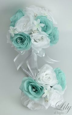 Turquoise Wedding Bouquet, Turquoise Flowers Bridal Bouquet, White ...
