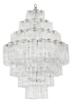 Buy Venini Glass Drop Chandelier by Kristen Buckingham - Limited Edition designer Chandeliers from Dering Hall's collection of Mid-Century / Modern Lighting.