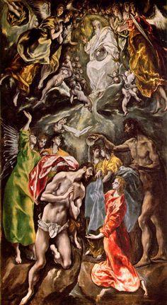 """El Greco: """"Baptism of Christ"""",1608. (Hospital de San Juan Bautista de Afuera, Toledo, Spain.)"""