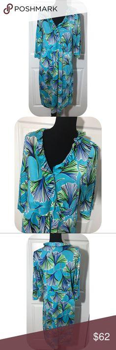 Lilly Pulitzer ruffled silk Midi floral dress GUC - 3/4 sleeve - Midi - silk/cotton blend ruffle bodice faux wrap dress - side zip - unlined Lilly Pulitzer Dresses Midi