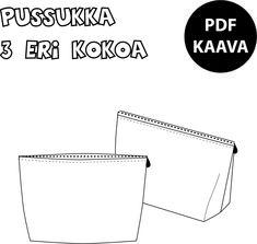 Ladattava PDF kaava. Tiedoston saat ladattua tilaus- ja maksuvahvistuksesta. Ei toimiteta postin välityksellä! Valitse toimitustavaksi PDF-kaavat. 3 eri kokoista pussukkaa. Kuvalliset ohjeet löydät blogista. Kaavaa suositellaan jo aiemmin ompelua harrastaneille ja perusasiat osaaville. Kaava on tarkoitettu yksityiskäyttöön. Jakaminen ja kopioiminen kolmannelle osapuolelle on kielletty. Myyntilisenssin valmiiden tuotteiden myyntiin voit ostaa täältä. Kaikki mobiililaitteet eivät tue zip-tiedo Sewing Patterns Free, Knitting Patterns, Free Sewing, Diy Bags Purses, Textiles, Art School, Sewing Hacks, Handicraft, Knit Crochet