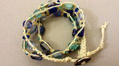 Hemp Blue Glass Beaded 3x Wrap Beach Bracelet by ManhattanStall