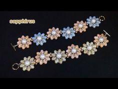 【ビーズステッチ】チェコビーズ・ゾリデュオのフラワーブレスレット How to make a Flower Bracelet /Czech glass beads ZoliDuo - YouTube