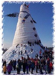 World's Tallest Snowman: Completed in Bethel, Maine in 1999, this snowman stood at 113ft 7in, and took 15 days and hundreds of volunteer builders to construct.
