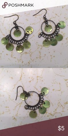 Green dangly earrings Good condition. One of the green circles has come off but otherwise still able to wear the earrings. Fun for summer! Jewelry Earrings