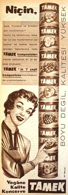 OĞUZ TOPOĞLU : niçin tamek komposto boyu değil kalitesi yüksek ye... Visual Memory, Old Ads, Nostalgia, Print Ads, Vintage Advertisements, Vintage Prints, Slogan, Advertising, History