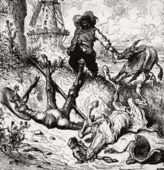 Don Chisciotte e Sancio Panza dopo l'attacco ai mulini, Gustave Doré, 1832