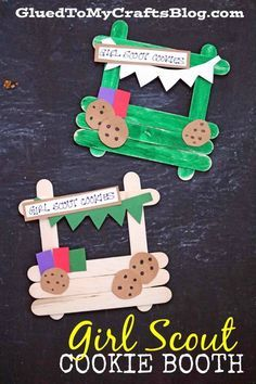 Whether you are a troop leader yourself or you love the Girl Scouts, please check out our Popsicle Stick Girl Scout Cookie Booth tutorial! Girl Scout Cookie Meme, Girl Scout Cookie Sales, Brownie Girl Scouts, Girl Scout Swap, Girl Scout Leader, Girl Scout Troop, Girl Guide Cookies, Girl Scout Cookies Recipes, Girl Scout Daisy Activities