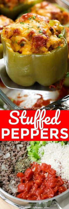 If you are looking for a quick and complete meal in one tidy package, then Stuffed Peppers are it! Using the pepper itself as the serving vessel, Stuffed Peppers are a fun and unique way to serve dinner to your family! #spendwithpennies #easyrecipe #stuffedpeppers #withsausage #withbeef #simpledinner