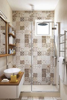 Patchwork tiles and earth tones for an apartment interior – diy bathroom decor Bad Inspiration, Bathroom Inspiration, Bathroom Ideas, Bathroom Remodeling, Bathroom Grey, Bathroom Styling, Master Bathroom, Bathroom Yellow, Cozy Bathroom