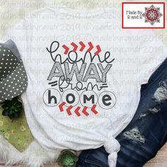 "This fun ""Home Away From Home"" t-shirt is the perfect shirt for baseball season! Baseball Shirt Designs, Baseball Mom Shirts Ideas, Baseball Stuff, Softball Shirts, Sports Shirts, Baseball Sister, Baseball Fashion, Mama Shirt, Home T Shirts"