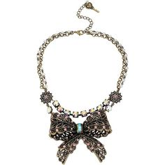 BETSEY JOHNSON Crystallized Vintage Bow Two-Row Necklace ($95) ❤ liked on Polyvore featuring jewelry, necklaces, pink, vintage pendant necklace, vintage pendant, vintage crystal necklace, crystal pendant and vintage charm necklace