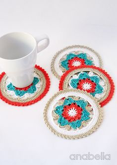 Crochet coasters with daffodil motif, pattern