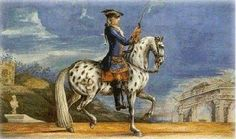 a spotted horse of the Spanish Riding School from the Imperial stud in Bohemia. Baron Reis D'eisenberg
