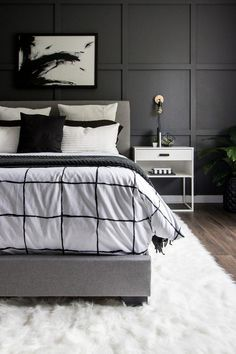 See how we transformed our boring master bedroom into a neutral monochrome modern bedroom with these simple black and white decor ideas modernhome homedecor oneroomchallenge modernBedroom Black Bedroom Decor, Black Master Bedroom, Black White Bedrooms, White Bedroom Design, Monochrome Bedroom, Bedroom Decor For Couples, Room Ideas Bedroom, Gold Bedroom, Home Decor Bedroom