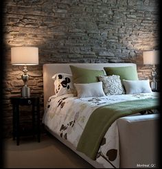 Cultured Stone Grey Southern Ledgestone condo apartment bedroom feature wall: