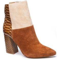 Designed By Kristin Cavallari | Chinese Laundry Santorini Boots featuring polyvore women's fashion shoes boots cognac multi real leather boots cognac leather boots block heel boots block-heel shoes crocodile boots