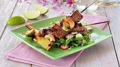 Biff- og scampispyd med asiatisk salat - Kos - Oppskrifter - MatPrat