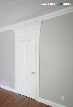Trick out your trim molding - SawdustGirl.com.    Door trim and ceiling trim