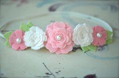 Felt Flower Garland Headband Soft Pink White and Cotton by bloomz