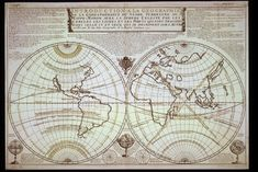 18th century World map from the French cartographer Nicolas de Fer, published in 1722.
