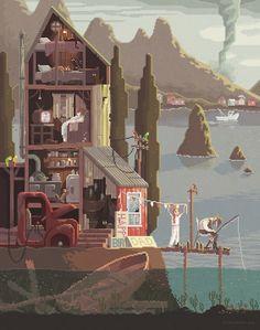 """Scene #15: 'The Fisherman's Daughter'"" by Octavi Navarro (Pixels Huh)   Redbubble"
